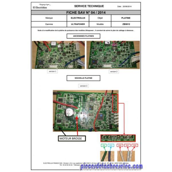 Carte électronique pour aspirateur balais zb5012 electrolux
